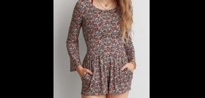 AEO soft & sexy lace-up back romper